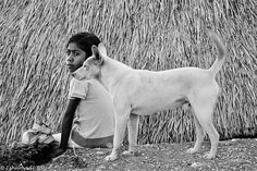 Precious photo of a girl with her dog.  (country of origin and date unknown)