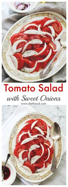 Tomato Salad with Sweet Onions | www.diethood.com | Delicious, cool and refreshing summer salad that goes great with grilled meat. | #recipe #salad #tomatoes