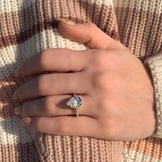 Elegant Engagement Rings, 3 Stone Engagement Rings, Emerald Cut Engagement, Pear Shaped Engagement Rings, Engagement Sets, Rose Gold Engagement Ring, Engagement Ring Settings, Pear Shaped Diamond, Halo Diamond