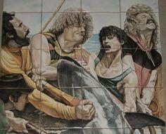 """""""Mattanza"""" Pannelli in ceramica Decorazione a mano Versione dopo la cottura. / """"Slaughter"""" Ceramic panels Hand-decoration Version after cooking.  By Rondinellart  #cinema #grafica #arte #dipintiamano #ceramica #ceramicart #ceramicartist #sicily #sicilia #mattanza #favignana #tonno#designer #design #interiordesign #tuna#majolica#artcomplex#worldofartist#catania#art#majolica#sanvitolocapo#tonnara#"""