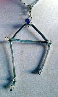Libra Necklace - Constellation Series - Silver Wire Dark Blue Glass Wire Wrapped