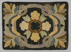 Hooked Rug Place Made: North America: Canada, Central Canada, Ontario, Western Ontario Period: Mid 20th century Date: 1930 - 1940 Dimensions: L 90 cm x W 65 cm Materials: Burlap; cotton; wool