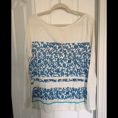 Top from Old Navy This is a long sleeved, boat neck top from Old Navy. The design is teal & white. There are some yellow stains (see 4th picture). Size XL. *price reflects condition.* Old Navy Tops