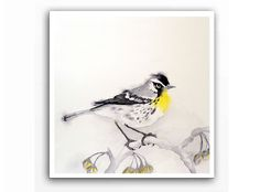 Yellow Throated Warbler Bird Art / Watercolor Print / by LaBerge