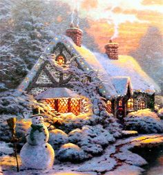 I LOVE LOVE LOVE Thomas Kinkade. He sets the scene for the perfect Christmas in so many ways.