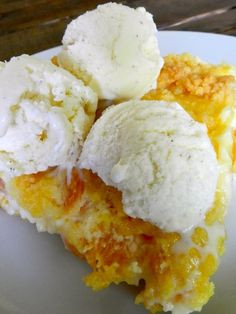 """Best Cobbler You've Ever Had""  Serves 12    1 box yellow cake mix - 1/3 cup butter - 2 large eggs - 29 ounces canned (or fresh!) peaches - 8 ounces cream cheese - 1/3 cup sugar - 1 teaspoon vanilla extract"