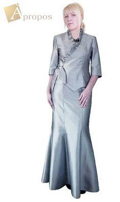 Abendkleid 2- Teiler Blazer Rock Elegant Übergröße Bodenlang Silber Apropos