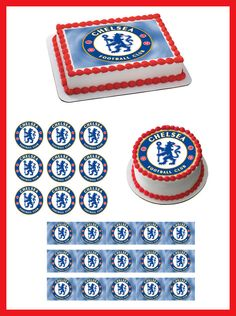 Chelsea Football Club Edible Birthday Cake Topper OR Cupcake Topper, Decor