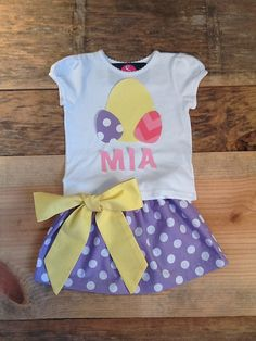 Girls Easter outfit. Twirly skirt & shirt by EverythingSorella, $54.50