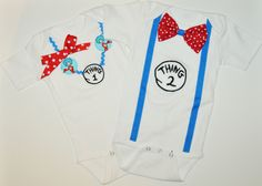 Thing 1 Thing 2 boy girl twins shirts Dr Seuss, Twins cake smash,boy/girl twins birthday outfit,  twins Dr Seuss cake smash, first birthday by RYLOwear on Etsy https://www.etsy.com/listing/227199454/thing-1-thing-2-boy-girl-twins-shirts-dr