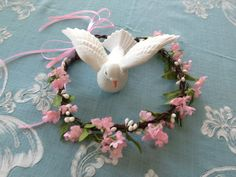 Wedding CROWN with pink silk babies breath by ArkSouthernBelle