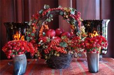Lovely autumnal arrangements by Carolyne Roehm.