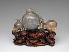 "Pomegranates, 18th century. Qing dynasty (1644–1911). China. The Metropolitan Museum of Art, New York. Gift of Heber R. Bishop, 1902(02.18.887) | This work is exhibited in the ""Colors of the Universe: Chinese Hardstone Carvings"" exhibition, on view through October 9, 2017."