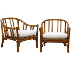 Handsome Pair of Bamboo Lounge/Club Chairs by McGuire- 4 Available