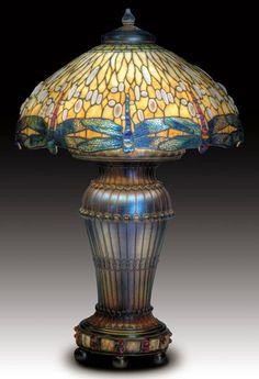 TIFFANY STUDIOS Drop-head Dragonfly lamp