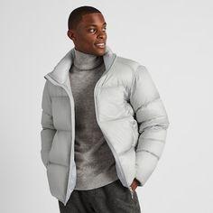 Puffer Jackets, Winter Jackets, White Studio Background, Denim Jacket Men, Light Jacket, Downlights, Uniqlo, Mens Fashion, Fashion Trends