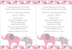 Pink Elephant Baby Shower Invitations