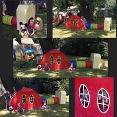 DIY Mickey Mouse clubhouse cardboard playhouse for my son's 4th Birthday party. They loved it!
