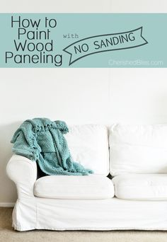 Should I paint the paneling on the half wall in the playroom? If I do, this a great tutorial! With this guide you can learn how to paint wood paneling the color you always dreamed of! The best part: NO SANDING REQUIRED! Painting Wood Paneling, Painting Doors, House Painting, Interior Paint Colors, Interior Painting, Living Room Paint, Living Rooms, Wood Trim, Revere Pewter