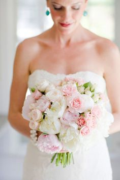 fluffy pink bouquet of peonies and garden roses