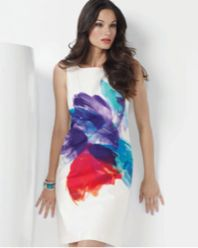 Artistic Impression: Express your artistic side with the bold brushstrokes of colour on this sleek shift dress. It slips easily under a jacket for office hours. Melanie Lyne.