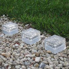 Pack of 3 Solar Frosted Cube Lights