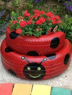 Garden art 315111305180732320 - Tire garden, Container garden design, Tire planters, Garden, Contain Tire Garden, Garden Yard Ideas, Garden Crafts, Diy Garden Decor, Garden Projects, Garden Art, Garden Decorations, Fence Ideas, Art Crafts