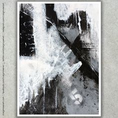 Untitled B&W original abstract painting by artist Craig Moser Art
