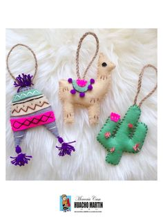 Set of 3 Peru Decorations. Llama/Cactus/Peruvian H - Excited to share the latest addition to my shop: Set of 3 Peru Decorations. Cactus Christmas Trees, Ribbon On Christmas Tree, Felt Christmas Ornaments, Christmas Crafts, Handmade Felt, Felt Diy, Felt Crafts, Handmade Ideas, Handmade Christmas Decorations