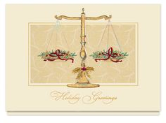 Scales of Justice Greetings Card, 72FCX - Business Christmas Cards