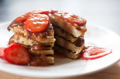 Fluffy strawberry pancakes with homemade strawberry syrup! No sugar, no grain, gluten free, paleo and delicious. This recipe is from the Nourishing Days blog but I changed a few things up. RECIPE: ...
