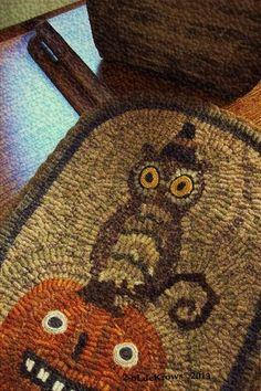 Halloween Hoot Primitive Owl Witch Pumpkin JOL Original Hand Hooked Rug Mat | eBay - 2 Old crows