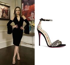 """Fallon Carrington wears these Gucci """"Ilse"""" crystal-embellished ankle-strap sandals on Dynasty 1x12"""