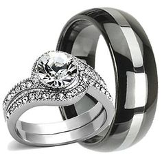 3 pcs His and Hers TUNGSTEN & STAINLESS STEEL Engagement Wedding Ring Set Band