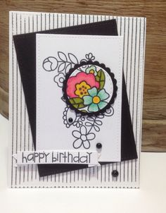 Spotlight stamping technique. Paper Smooches Blossoming Buds. Hero Arts Striped background stamp.