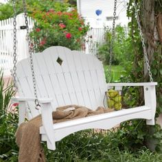 4 ft. East Cottage Wood Classic Porch Swing - White $200