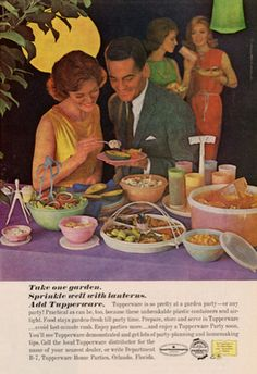 Vintage garden party Tupperware ad.  Take one garden. Sprinkle well with lanterns. Add Tupperware.