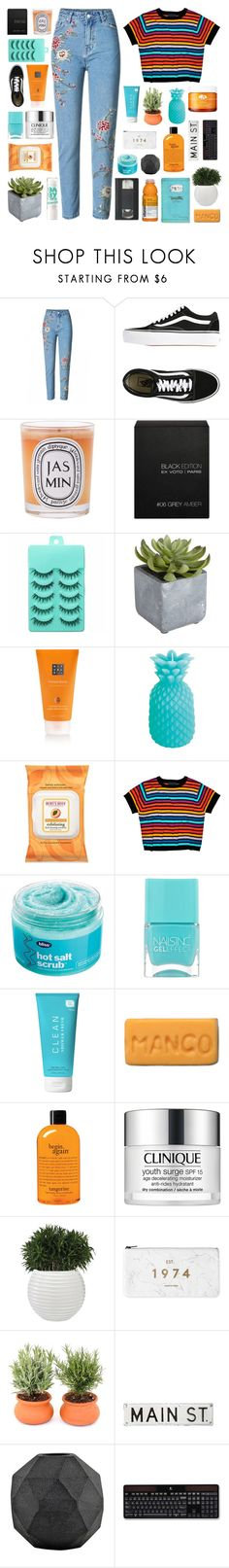 """""""when the bottles done you pull me closer"""" by glued-together ❤ liked on Polyvore featuring Vans, Diptyque, Ex Voto Paris, Pier 1 Imports, Sunnylife, Burt's Bees, Cynthia Rowley, Bliss, Nails Inc. and CLEAN"""