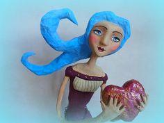 Escute o seu coração - Listen to your heart Paper mache doll - Boneca em papel maché www.blogspot.alegriadopapel.com