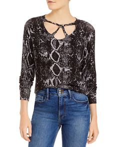 LNA - Cailin Snake Print Brushed Sweater