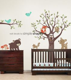 Tree with Forest Friends Decal Set - Kids Nursery Room Wall Sticker via Etsy