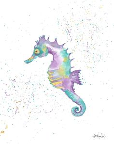 SEAHORSE in watercolor simple wash by Diana Martin