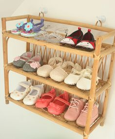 what a great idea to store baby shoes