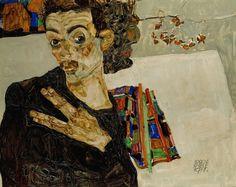 Egon Schiele, Selfportrait with Spread Fingers, 1911 on ArtStack #egon-schiele #art
