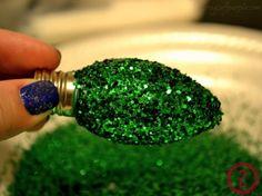 How To DIY Glitterized Light Bulbs for Christmas