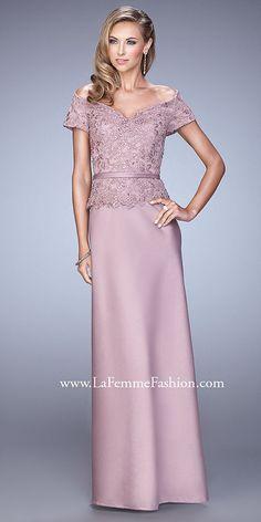 Off The Shoulder Satin Belted Evening Dress By La Femme