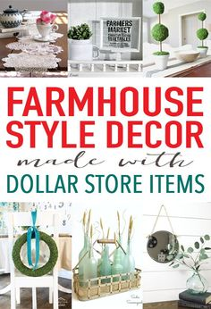 DIY Farmhouse Style decor using items from the dollar store- or thrift store or yard sale!! There are so many good ideas here from The Shabby Creek Cottage but I think the sea glass bottles are my favorite. Perfect for coastal farmhouse or beach cottage decor!