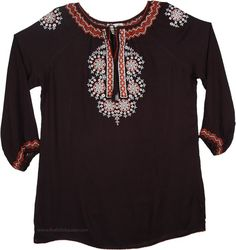 Onyx Full Sleeve Floral Embroidered Tunic TLB Womens Embroidered Resort Tunic in Black - Our jet black tunic top draws inspiration from ethnic and Indian influences Tunic Shirt, Tunic Tops, Black Tunic, Embroidered Tunic, Linen Dresses, Boho Chic, Fashion Outfits, Ethnic, Sleeves