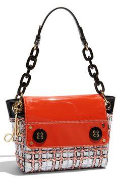 Milly Check Pattern Tweed Shoulder Bag