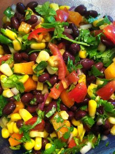Sweet Corn & Black Bean Salad  2 cups black beans, rinsed and drained  1 cup frozen sweet corn, thawed  1/2 cup grape tomatoes, roughly chopped  1/2 cup chopped bell peppers  1/4 cup finely chopped red onion  1 large handful fresh cilantro, chopped  1 tbsp olive oil  2-3 tbsp freshly squeezed lime juice (about half a lime)  Pepper, to taste